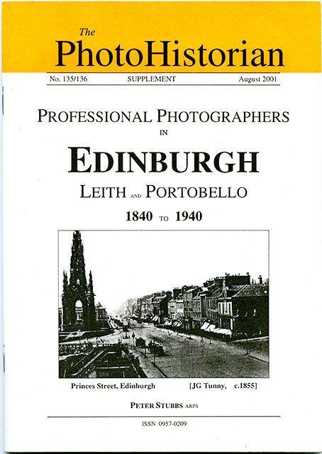 Booklet published by the Historical Group of the Royal Photographic Society  -  Professional Photographers in Edinburgh, Leith and Portobello, 1840-1940
