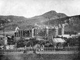 Photograph from View Album of Edinburgh & District, published by Patrick Thomson around 1900  -  Holyrood Palace and Arthur's Seat