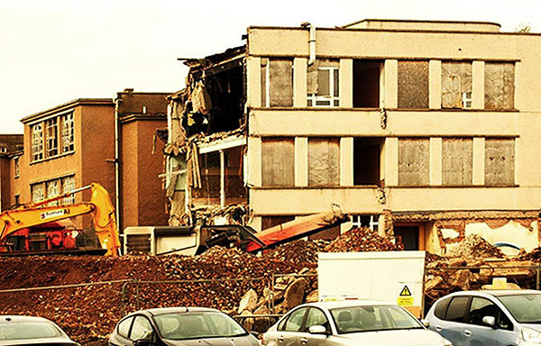 Demolition of Ainslie Park School, East Pilton, Edinburgh