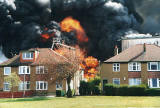 A major fire destroys Bruce Peebles' transformer factory at East Pilton on April 12, 1999