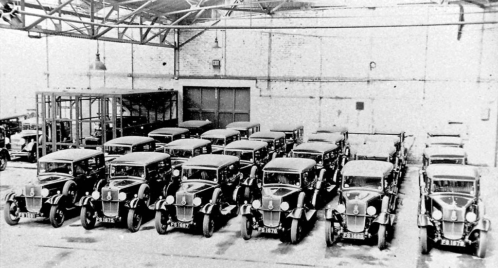 Edinburgh City Car Fleet  -  Cars (Reg Nos FS ....) at Central Garage, Annandale Street in 1920s