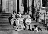 Some of the family and relatives of Alan Stewart on the steps of Clermiston House, in the early-1960s