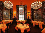 The Dome Restaurant, 14 George Street  -  Chandeliers, Chroistmas decorations and tables set for meals