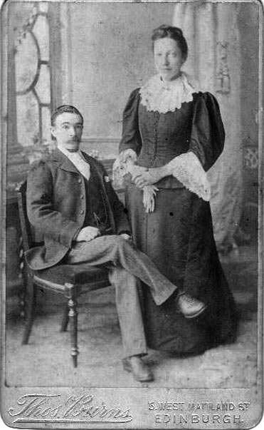 Photograph by Thomas Burns of Willie Center and Amy Center, the son and wife of John Center, an Edinburgh photographer and bagpipe maker.