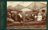 Cabinet Print  -  Family in a 'studio boa't with a backdrop of the Forth Bridge