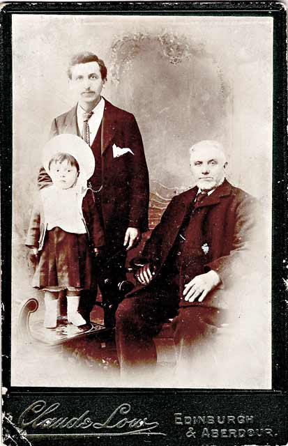 Cabinet print by Claude Low:  Three generations of the Young family