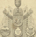 Zoom-in further to the back of a cabinet print showing a cup and medals awarded to A Swan Watson