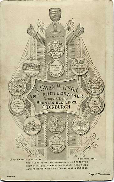 The back of a cabinet print by A Swan Watson  -  No 16188