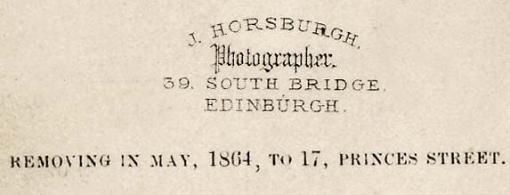 Detail from the back of a carte de visite by John Horsburgh  from studio at 39 South Bridge  -  with details of a move to Princes Street studio.