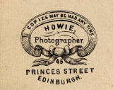 Detail on the back of a carte de visite by Howie of 45 Princes Street.  Which member of the Howie family produced this carte de visite?