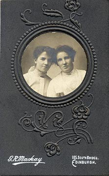 GR Mackay  -  Small photograph of two ladies mounted on carte-de-visite size mount