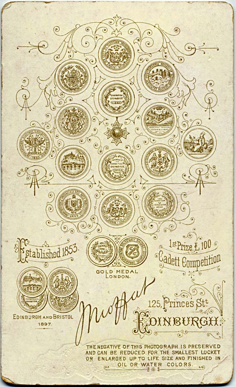 The back of a Moffat carte de visite  -  1897 and later  -  Ten Medals