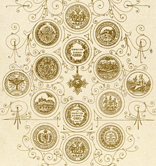 The back of a Moffat carte de visite  -  c1890 to 1897  -  Seven Medals