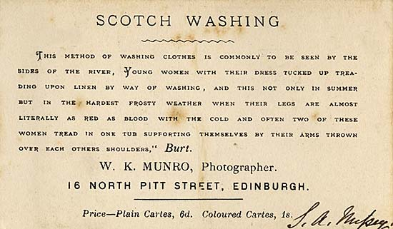 Scotch Washing  -  Text on the back of a carte de visite by WK Munro