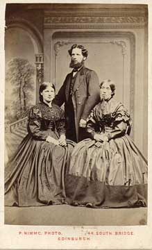 Carte de visite from the studio of Peter Nimmo  -  Man and two ladies