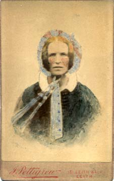 Hand-coloured carte de visite from the studio of John Pettigrew