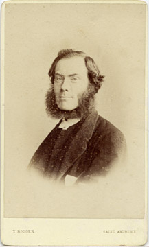 Carte de Visite of a bearded reverend from the St Andrews studio of T Rodger (front)
