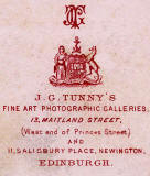 Zoom-in on the detail on the back of a carte de visiet by Tunny -  1888-1897  -  Lady with necklaces