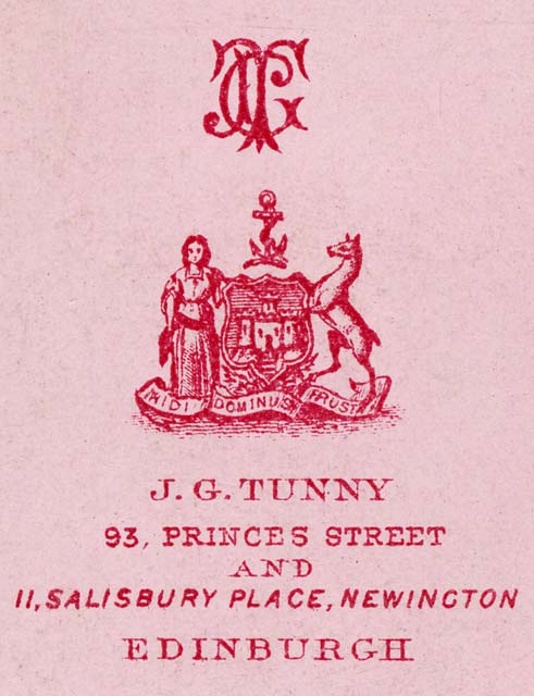 Zoom-in on the detail on the back of a Carte de Visite by Tunny & Co  -  1870-1874