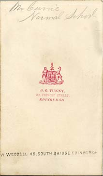 The back of a carte de visiet by James Good Tunny  -  1860-1870  - Mr Currie