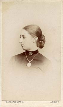 Carte de visite from the Edinburgh studio of Marshall Wane  -  Lady with Neclace and Bun