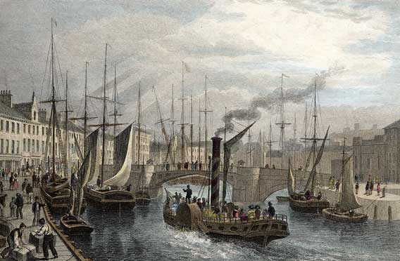 Engraving from 'Modern Athens'  -  hand-coloured  -  Leith Harbour