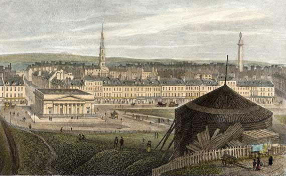 Engraving from 'Modern Athens'  -  hand-coloured  -  Edinburgh New Town from Ramsay Garden