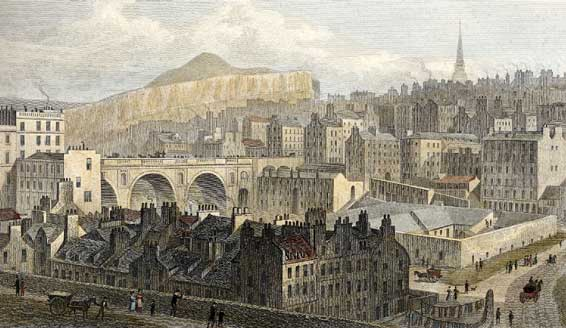 Engraving from 'Modern Athens'  -  hand-coloured  -  Edinburgh Old Town and North Bridge from Princes Street