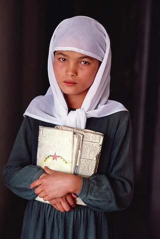 Young Afghan Schoolgirl -   A photograph in Steve McCurry in his exhibition, Images from Afghanistan