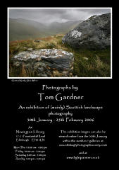 Poster for an exhibition of mainly landscape photography by Tom Gardner, Edinburgh Photographic Society