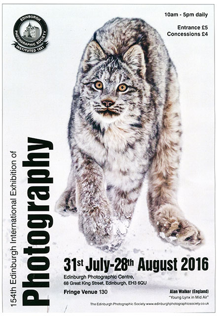 Poster for Edinburgh PHotographic Society's International Exhibition, 2016 featuring a photo by Alan Walker, England, titled: 'Lynx in Mid Air'
