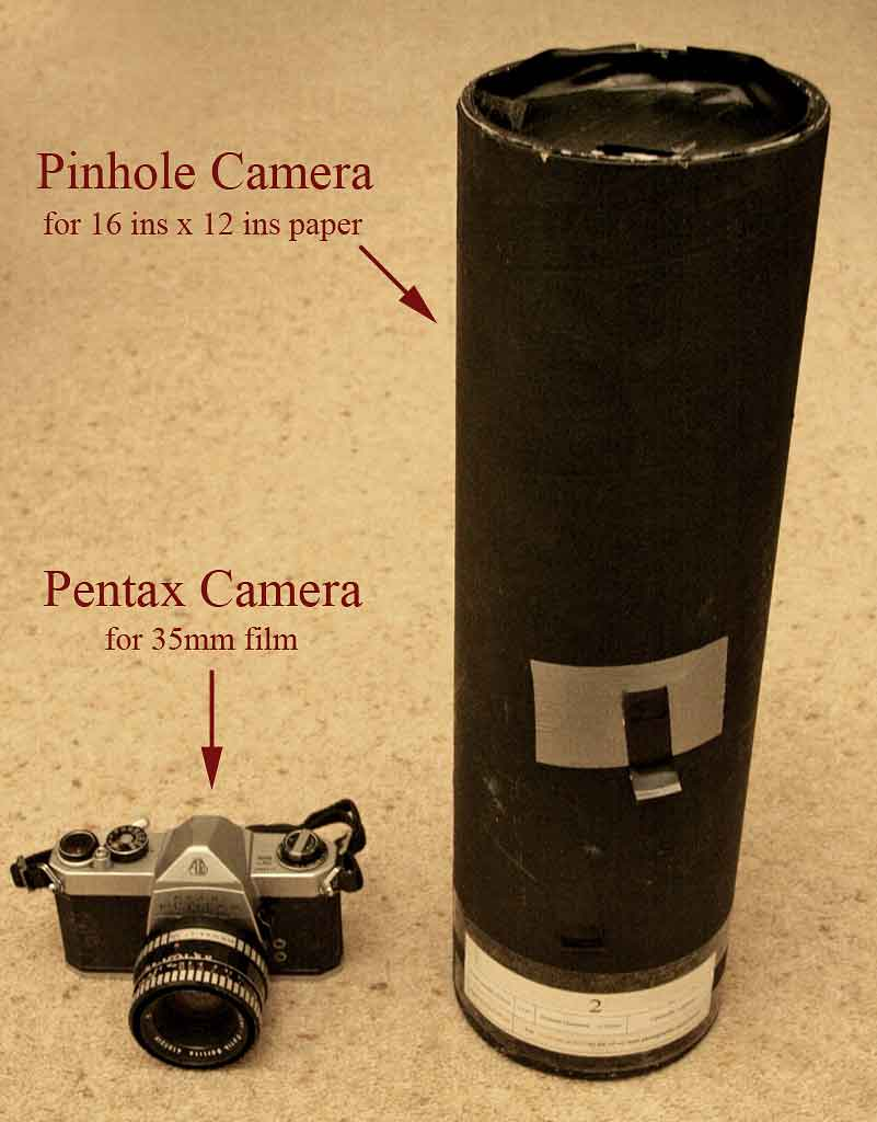 Photograph of a Pentax camera and a pinhole camera - for talk on Exposure to Midlothian Camera Club