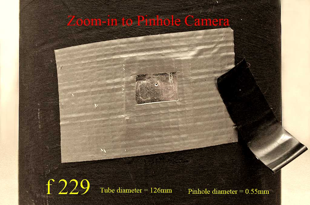 Zoom in to the pinhole on a pinhole camera