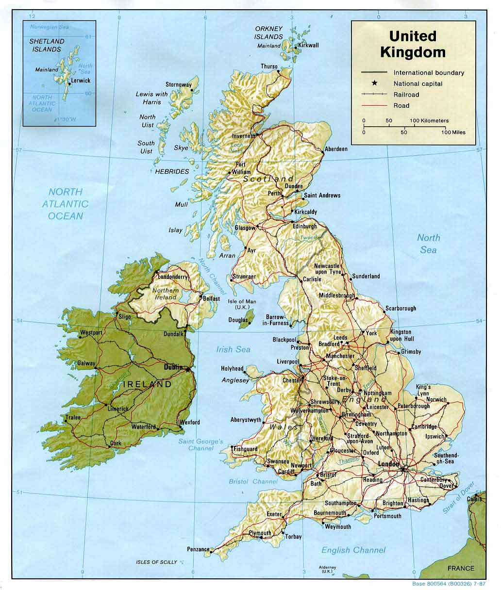 Map of the British Isles  -  1987  -  enlarged