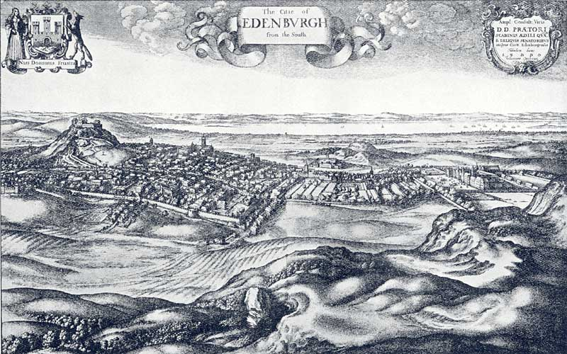 Edinburgh from the South, 1670  -  by Hollar