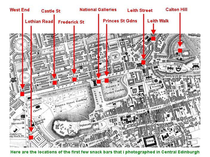 Map showing the locations of some of the snack vans in Central Edinburgh  -  2002 to 2006