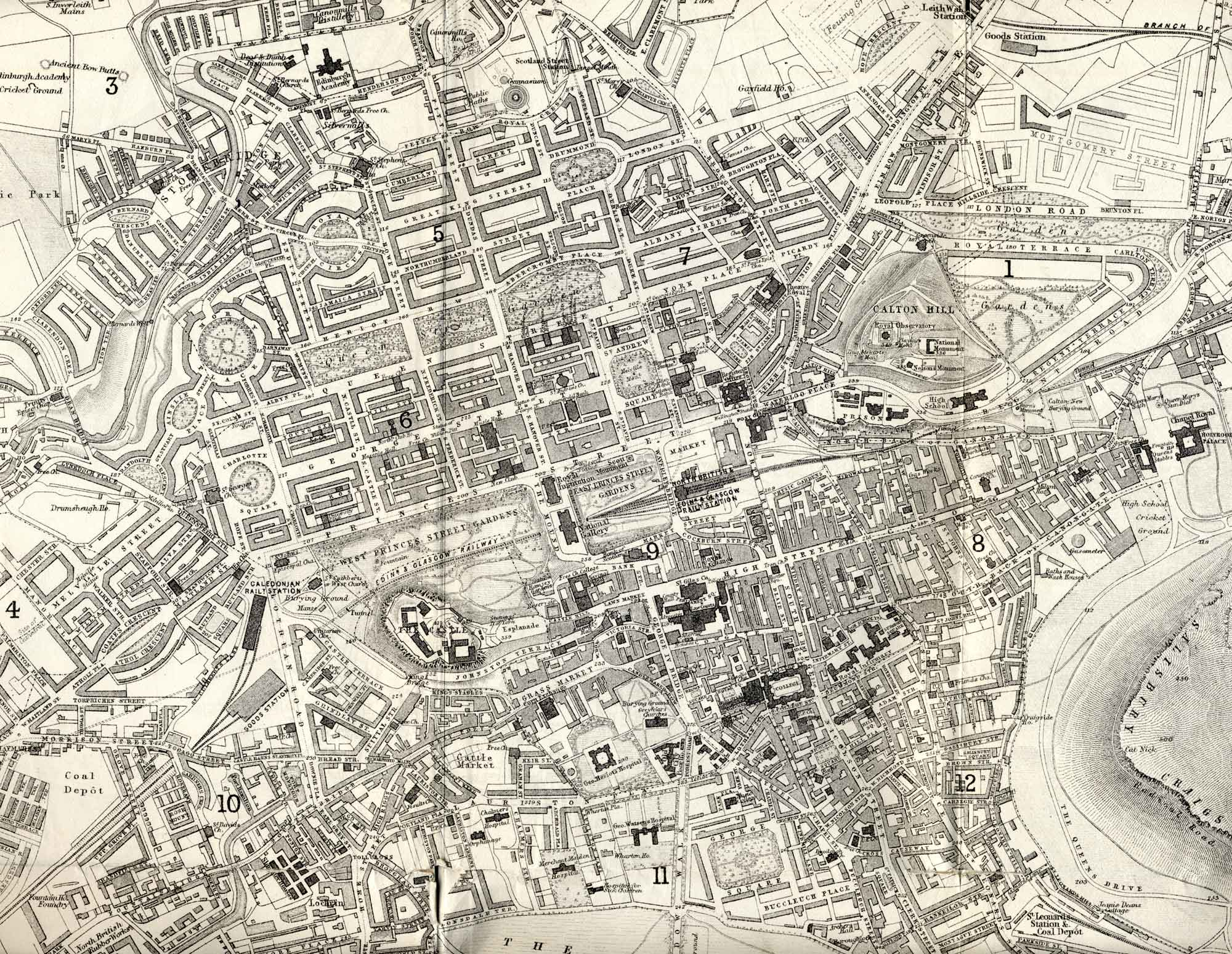 Edinburgh  -  1870  -  Enlargement of part of a map by John Bartholemew that appeared in the Edinburgh & Leith Post Office Directory 1870-71