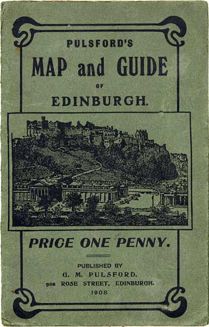 Cover  of Pulsford's Map and Guide showing Railway and Tramway routes from the City Centre to the 1908 Exhibition.