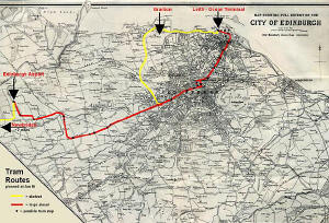 Map by John Bartholomew & Son Ltd.  -  The whole city of Edinburgh, 1925 - showing the proposed tram lines for 2010 onwards, as planned at January 2006.
