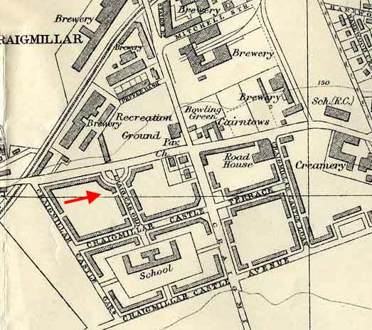 1940 map of Craigmillar and Niddrie, SW corner -  showing where a back green photograph was taken from.