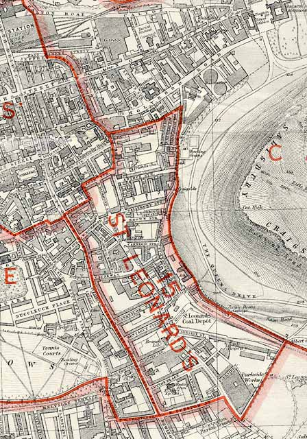 Edinburgh and Leith map, 1940  - Dumbiedykes and St Leonards