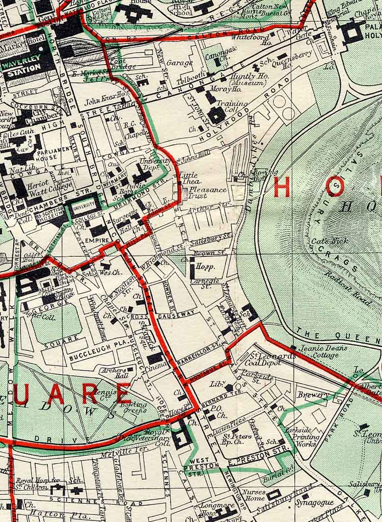 Edinburgh and Leith map, 1955  -  Dumbiedykes and St Leonard's