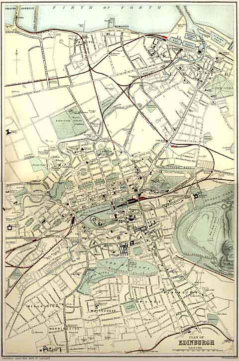 Edinburgh and Leith map of Roads and Railways  -  1884  -  The whole map