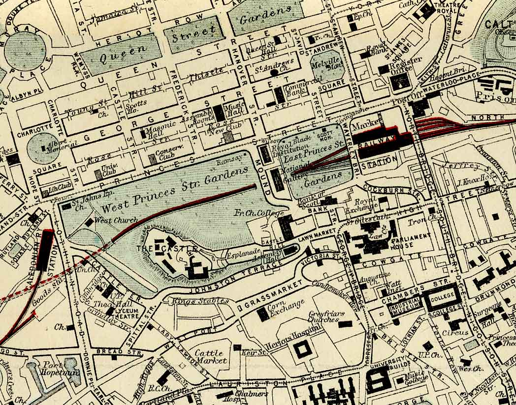 Edinburgh and Leith map of Roads and Railways  -  1884  -  Zoom-in to the City Centre sction of the map