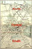 Edinburgh and Leith map of Roads and Railways  -  1884  -  Zoom-in to Northern, Central and Southern parts