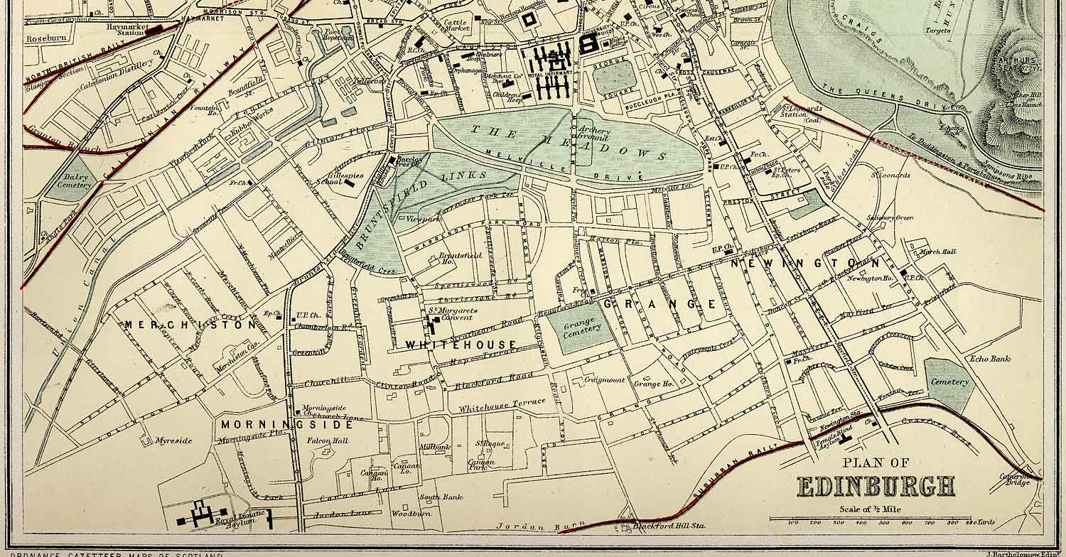Edinburgh and Leith map of Roads and Railways  -  1884  -  Zoom-in to Southern section of the map