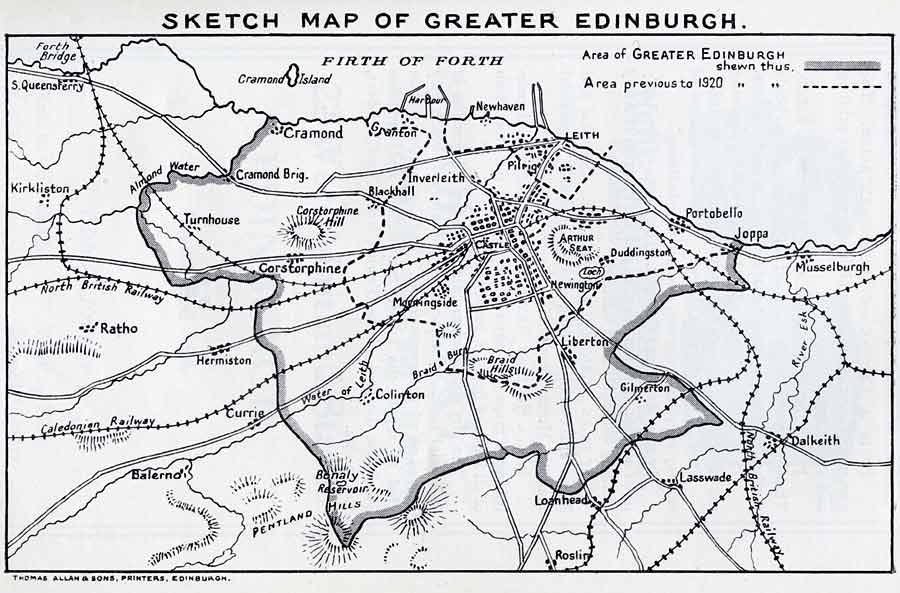 Map of Edinburgh Boundaries before and after 1920