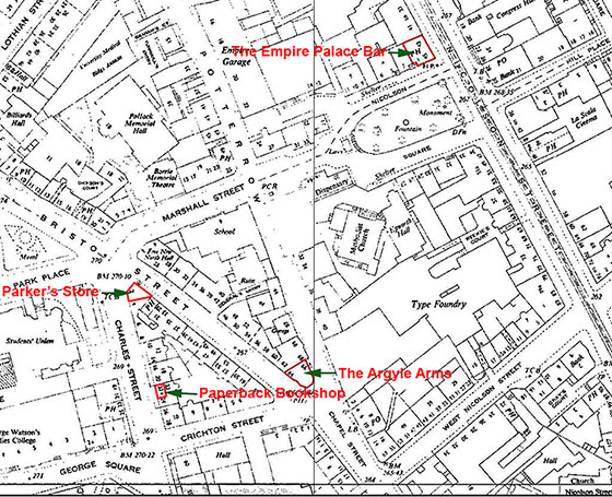 Map of the area around Bristo Street, showing the location of Parker's store