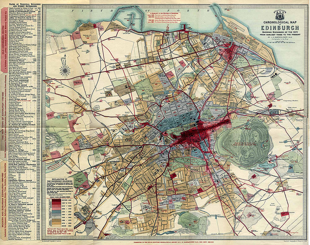 Edinburgh Chronological Map  -  Published 1919  -  Large