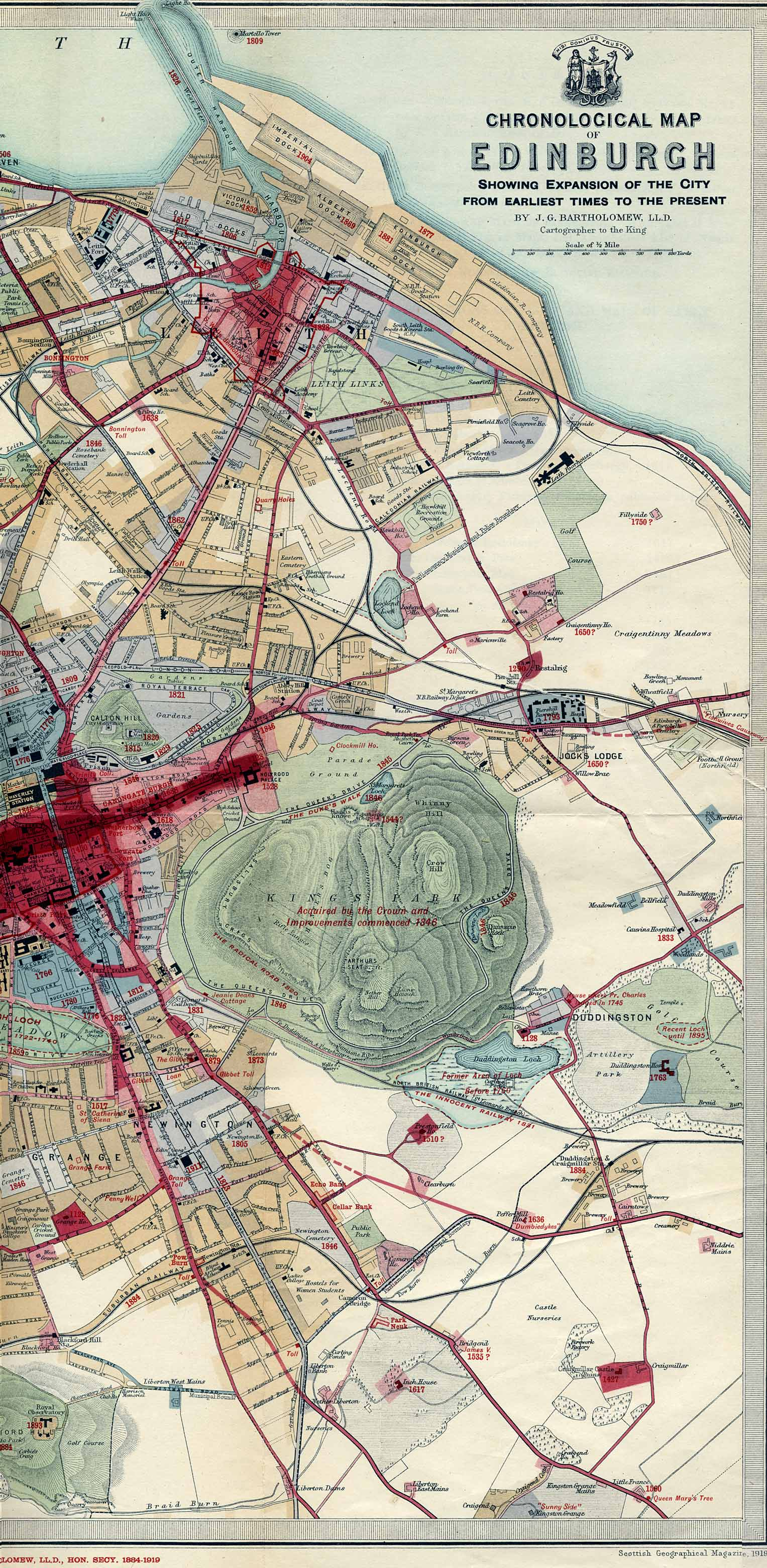 Edinburgh Chronological Map  -  Published 1919  -  East Section